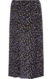 Forget Me Knot pleated printed georgette midi skirt