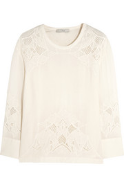 IRO Devana embroidered crepe top