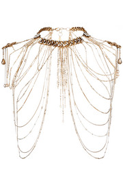 Hung Up gold-plated Swarovski crystal body chain
