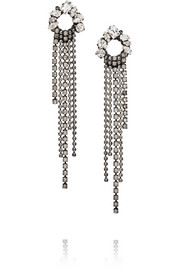 Fringe Element gunmetal-tone Swarovski cystal earrings