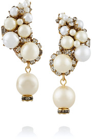 Gold-plated, faux pearl and Swarovski crystal earrings