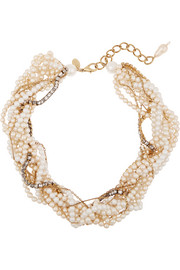 Erickson Beamon Lady and the Tramp gold-plated, faux pearl and Swarovski crystal necklace