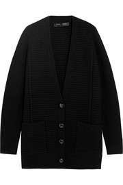 Oversized ribbed wool and cashmere-blend cardigan
