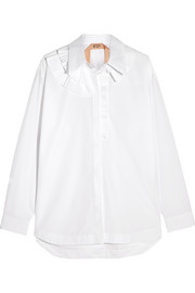 Ruffle-trimmed cotton-poplin shirt