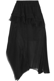 Pleated silk-organza skirt