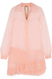 Pleated silk-organza mini dress
