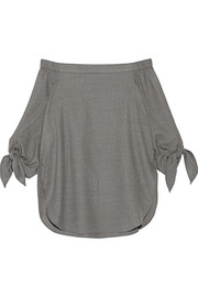 Off-the-shoulder stretch-wool twill top