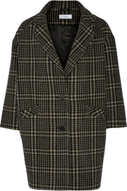 Plaid wool-blend coat