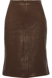 Textured-leather skirt