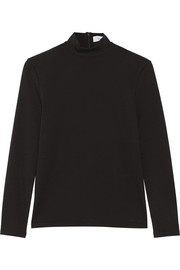 Stretch-cotton jersey turtleneck top