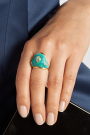 Fluid Droplet 18-karat gold multi-stone ring