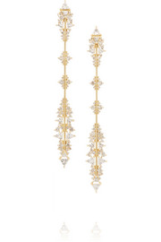 Fusion Arrow 18-karat gold, diamond and topaz earrings