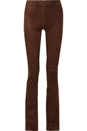 Lex stretch-suede flared pants