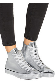 Chuck Taylor All Star Chrome metallic leather high-top sneakers
