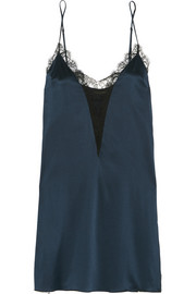 Leavers lace-trimmed stretch-silk satin chemise