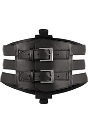 Buckled leather waist belt