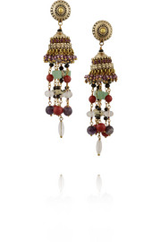 Gold-plated multi-stone tassel earrings