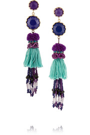 Tasseled gold-plated, amethyst and lapis earrings