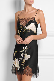 Printed Chantilly lace-trimmed silk-satin chemise