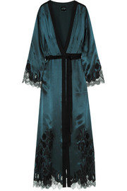Carine Gilson Chantilly lace-trimmed silk-satin robe