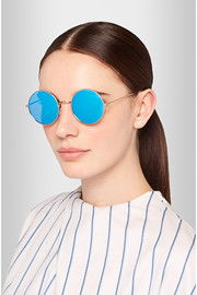 Porto Cervo round-frame metal mirrored sunglasses