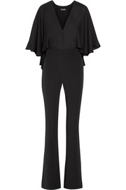 Carrie cape-effect silk-chiffon and stretch-crepe jumpsuit