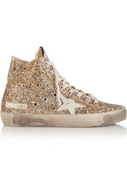 Francy glittered leather high-top sneakers