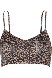 Leopard-print stretch-Supplex® sports bra