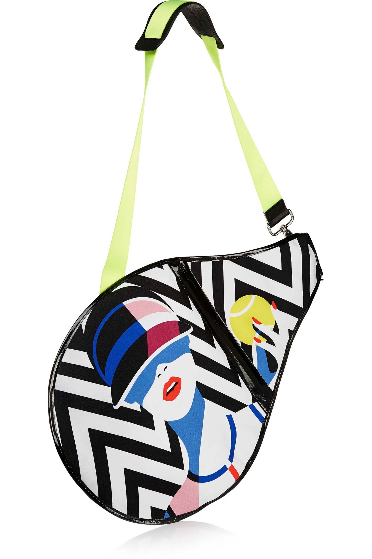Monreal London Malika printed canvas and PVC tennis racket cover