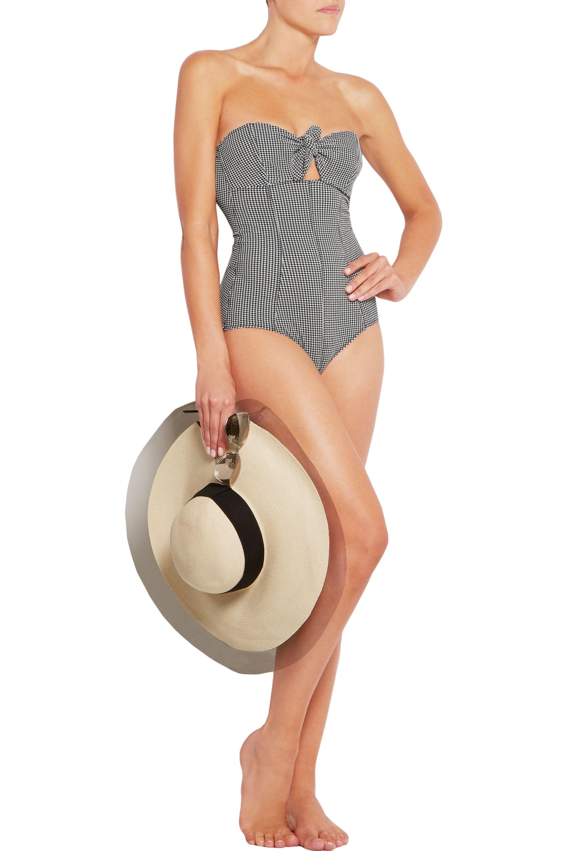 Lisa Marie Fernandez Poppy gingham seersucker bandeau swimsuit