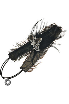 Deepa Gurnani Crystal and feather hairband NET A PORTER COM from netaporter.com