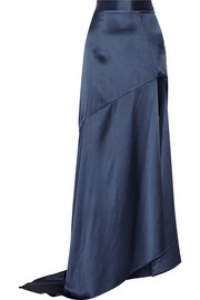 Split silk-satin maxi skirt