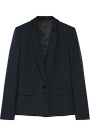 Faille-trimmed stretch-wool blazer