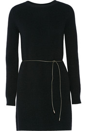 Belted wool-blend sweater dress