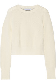 Cropped ribbed wool and cashmere-blend sweater