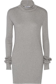 Ribbed cotton and angora-blend turtleneck sweater