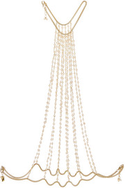 Rosarietto gold-tone pearl body chain