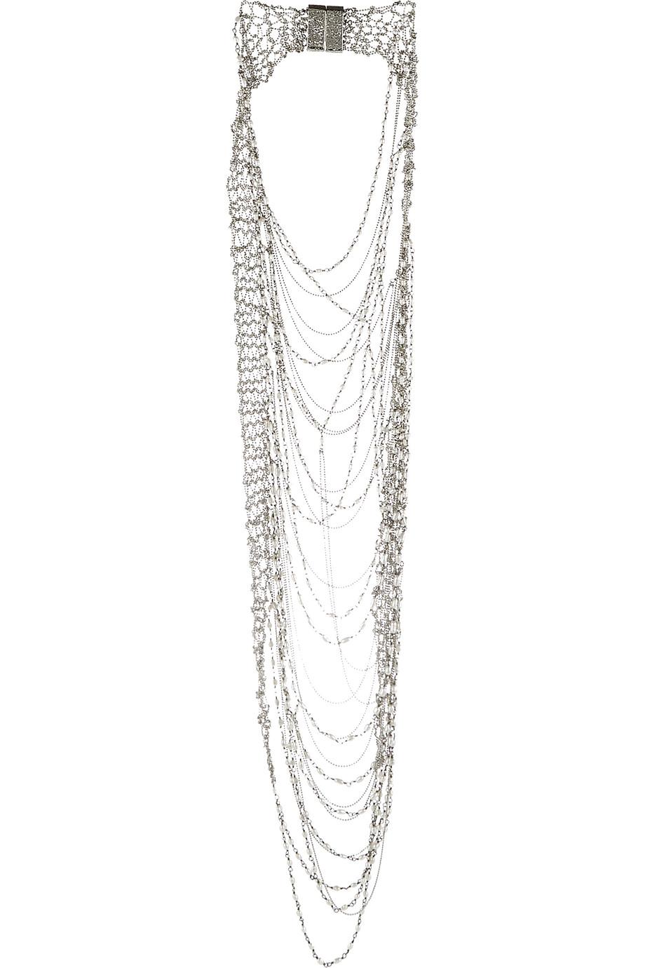 Rosantica Giovanna Palladium-Tone Pearl Necklace, Silver, Women's