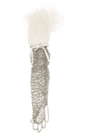 Rosantica Giovanna palladium-tone, pearl and feather glove