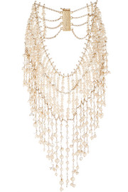 Ninfea gold-tone, pearl and rock crystal necklace