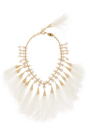 Rosantica Faggio gold-tone, feather and pearl necklace