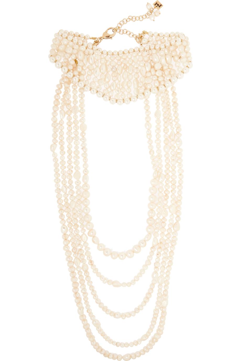 Rosantica Tramonto Gold-Tone Pearl Necklace, White, Women's