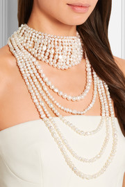 Tramonto gold-tone pearl necklace