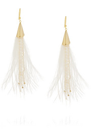 Rosantica Pavone gold-tone, pearl and feather earrings