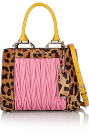 Double Handle leopard-print calf hair and matelassé leather shoulder bag