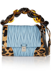 Leopard-print calf hair and matelassé leather shoulder bag