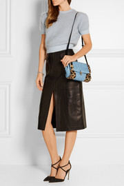 Miu Miu Leopard-print calf hair and matelassé leather shoulder bag