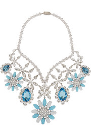 Miu Miu Palladium-tone, crystal and Plexiglas® necklace