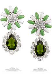 Palladium-tone, crystal and Plexiglas® clip earrings