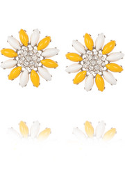 Palladium-tone crystal clip earrings